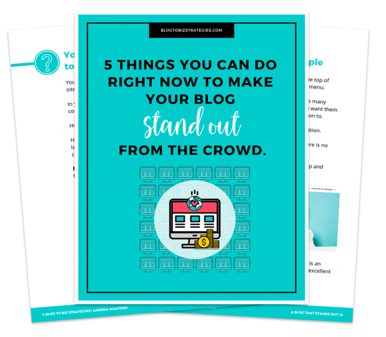 Blog to Biz Strategies | Free Cheat Sheet A Stand Out Blog